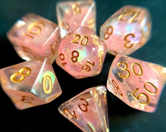 FAiry WIngs dnd dice set for Dungeons and Dragons, d20 Polyhedral dice set for TT RPG - incredible iridescent sparkles!