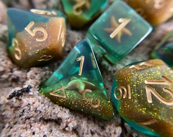 OCEAN Star DNd DIce SEt for d20 DUngeons and DRagons TTrpg, POlyhedral DIce SEt 4 TAbletop ROle Playing Games - ocean MErmaid PIrate