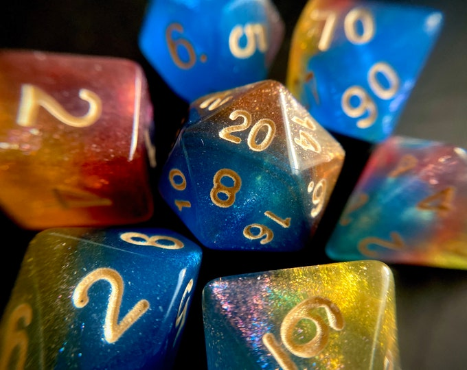 Mystic PRISM <FLAWED> DNd Dice set for Dungeons and Dragons TTrpg, Polyhedral Dice Set - d20 Galaxy Dice