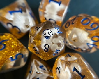 OCEAN PRINCESS dnd Dice Set, D20 Polyhedral DIce Set 4 Dungeons and Dragons TTRPG TAbletop Game DIce - Sea Shells, Mermaid
