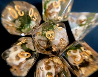 PIRATE Gold Dnd dice set, d20 Polyhedral dice set - Dungeons and Dragons dice- Pirate Dice PRE- ORDER