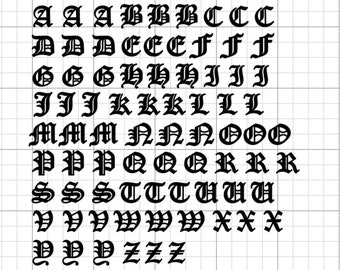"""Black 1//4/"""" Old English Font Alphabet Letters Fused Glass Ceramic Decals 18CC1003"""