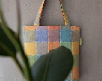 CAROLINE // Tote Bag | Fully Lined Upcycled Tote Bag | Zero Waste Plaid Shopper (Upcycled Collection)