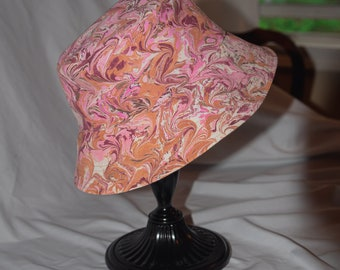 LAVA GURL // Hand Marbled Denim Bucket Hat   Handmade  Fully Lined Hat   Summer Cap