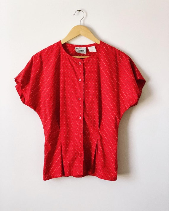 Red Pendelton Blouse with Cinched Waist