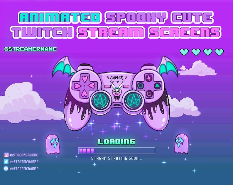 Kawaii Twitch loading screen Spooky Cute Animated Spooky Cute Twitch screens Animated Twitch stream screens Pastel Goth