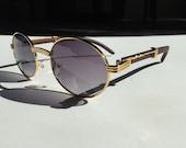 Vintage Shades Retro Buffs Circle Hip Hop Pop Smoke Wood Tint Sunglasses Cartier Rapper Tinted Gold Frame Mens