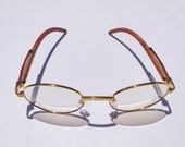 Vintage wood frame GOLD glasses