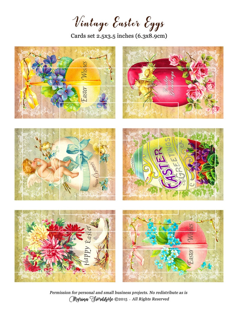 Easter~Digital Collage Sheet~ Easter Parade~ ATC~ Journal ~ Greeting Card~ Instant Download
