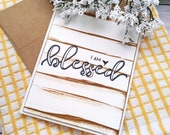 Set of 3 Grateful, Thankful, Blessed Card Set / Greeting Cards / A2 / Handmade Greeting Card