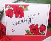 Sending Birthday Joy  / Birthday, Celebatory Greeting Card / A2 / Handmade Greeting Card