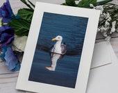 Seagull Swimming Photo card / Photo, Photography Greeting Card / A2 / Handmade Greeting Card