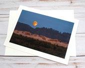 Harvest Moon, Florence Oregon / Photo, Photography Greeting Card / A2 / Handmade Greeting Card