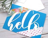 """Set of 6 Giant """"Hello"""" Card Set / Greeting Cards / A2 / Handmade Greeting Card"""
