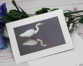 Egret Reflection Photo card / Photo, Photography Greeting Card / A2 / Handmade Greeting Card