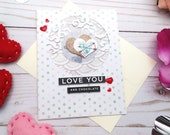 Love You and Chocolate / Valentine's Day / Love Greeting Card / A2 / Handmade Greeting Card