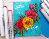 Happy Birthday, Love & Hugs  / Birthday, Celebatory Greeting Card / A2 / Handmade Greeting Card