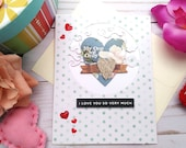 I Love You so Very Much / Valentine's Day / Love Greeting Card / A2 / Handmade Greeting Card