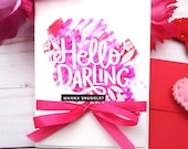 Hello Darling, wanna snuggle? / Valentine's Day / Love Greeting Card / A2 / Handmade Greeting Card