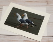 Seagulls Chit Chatting / Photo, Photography Greeting Card / A2 / Handmade Greeting Card