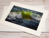 Ocean Green Waves / Photo, Photography Greeting Card / A2 / Handmade Greeting Card