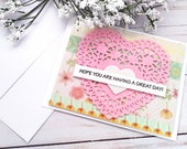 """Set of 4 Friendship """"Hope You're Having a Great Day"""" Greeting Cards / A2 / Handmade Greeting Card"""
