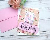 Birthday Shaker Birthday Greeting Card / A2 / Handmade Greeting Card