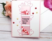 Happy Birthday Shaker Birthday Greeting Card / A2 / Handmade Greeting Card