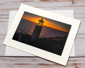 Lighthouse at Sunset / Photo, Photography Greeting Card / A2 / Handmade Greeting Card
