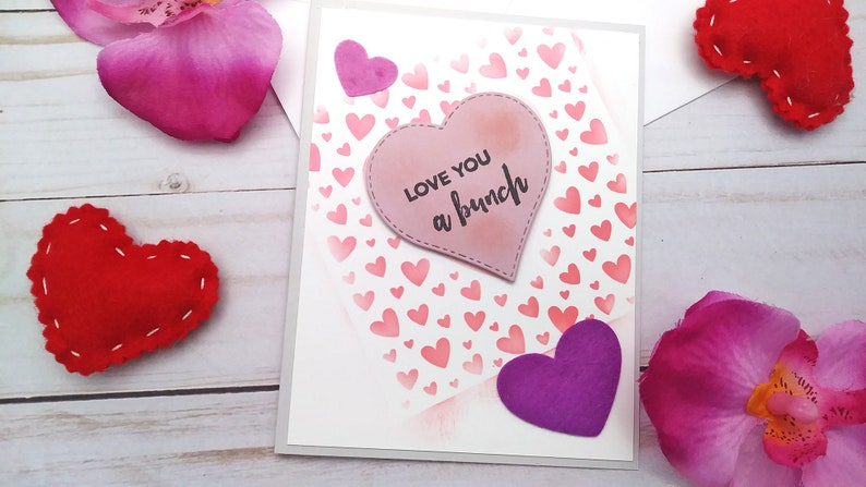 Love you a Bunch / Love Greeting Card / A2 / Handmade Greeting Design #1