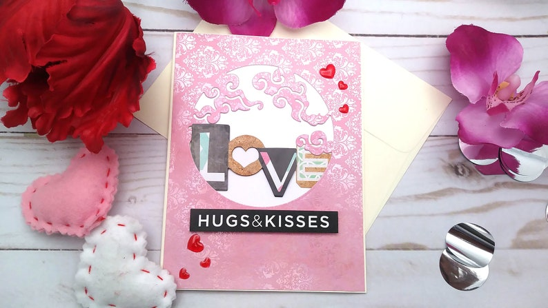 Love Hugs & Kisses / Love Greeting Card / A2 / Handmade image 0