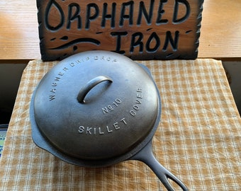 Wagner Heat Ring Antique Cast Iron #8 Skillet Nickel Plated,Circa1800,Stylized Logo