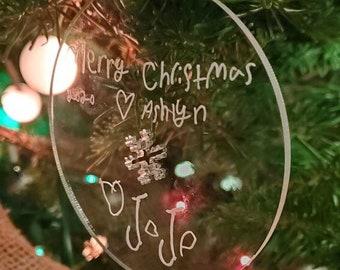 Handwriting Gift Christmas Ornament.  Handwritten Christmas Tree Decorations.  Kids Handwriting Gift. Children's art holiday gift decoration