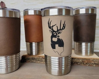 Custom Engraved Tumbler, Leather Cup, Insulated Travel Cup, Custom Engraved cups. Wedding party, Groomsman gifts. Personalized Tumblers gift