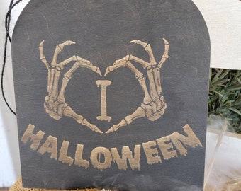 Halloween Decorations Hocus Pocus Sign. I Love Halloween Wood Hanger.  Skeleton Hands Halloween Sign. Porch Halloween Decorations.