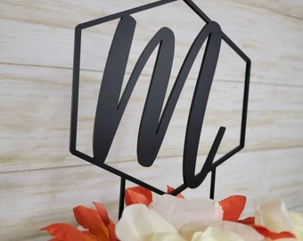Acrylic, Wood Initial, Letter Cake Topper.  Wedding, Birthday, Event Party Decorations. Monogram cake decorations. Custom cake topper decor.