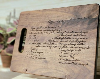 Custom Engraved Handwritten Recipe Mahogany, Bubinga Cutting, Cheese boards. Mothers day, wedding, Christmas gifts. Initials, last name.