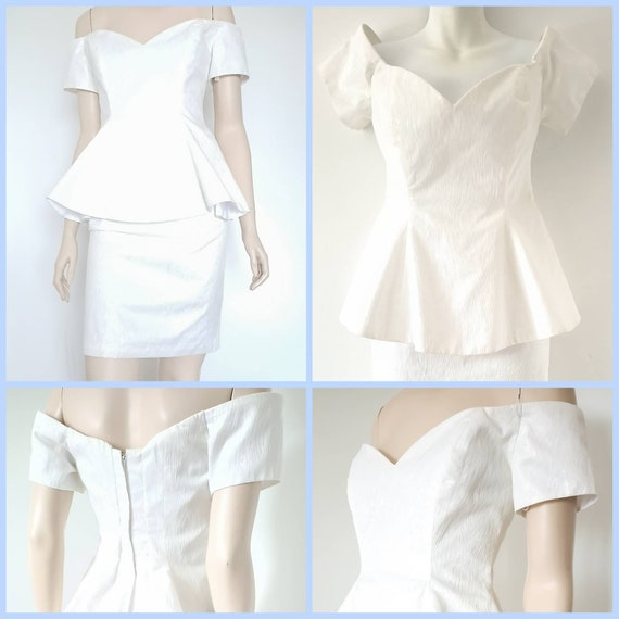 80s white peplum formal party dress