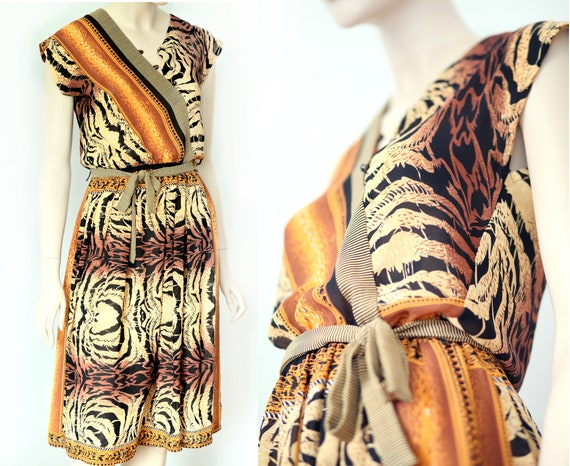 70s 80s Studio 54 disco dress animal print.