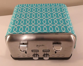 """Toaster Cover - Teal & White Toaster Huggee - 4 Slice (18x7.5"""") or 2 Slice (13x7.5)"""
