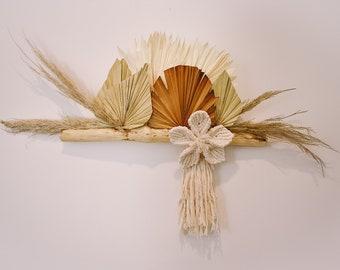 Driftwood Wall Décor | Palm Leaves + Pampas Grass | Macramé Flower