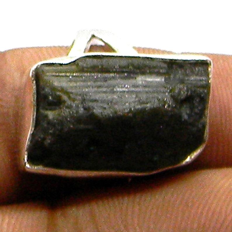 Middle finger ring Black Tourmaline rough stone Ring Size 6 thru 10 Tourmaline Rough stone jewelry Black Tourmaline Silver Jewelry