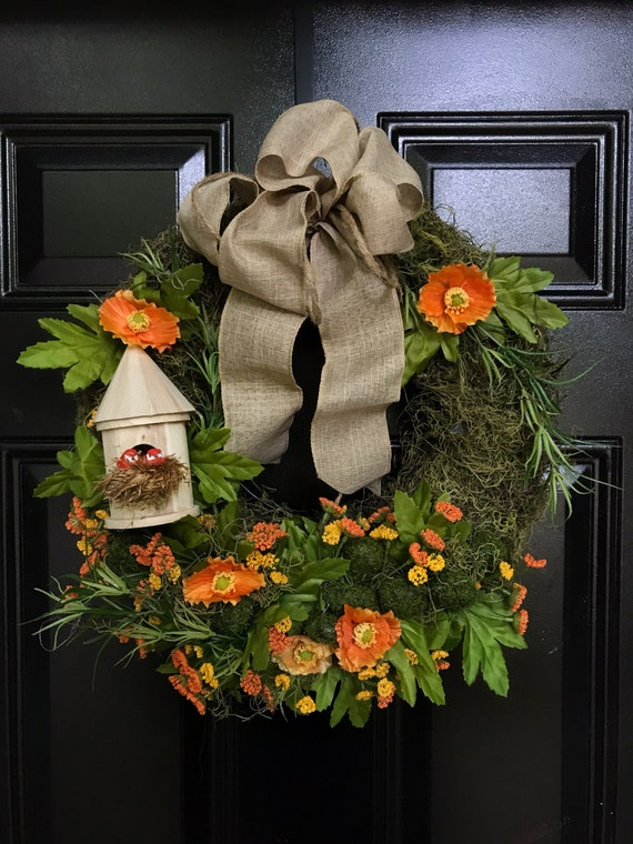 Orange Flowers With Spanish Moss And Faux Moss Stones Adorned Etsy