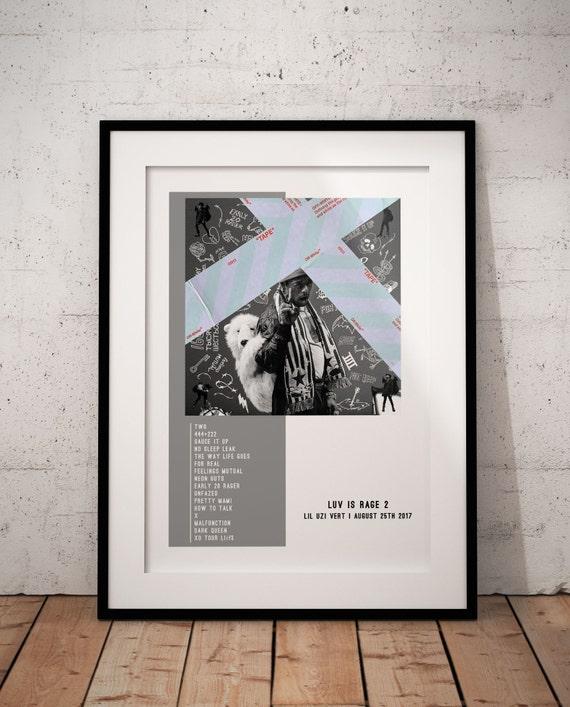 Lil Uzi Vert Luv Is Rage 2 Album 2017 Hip Hop Cover Art Silk Canvas Poster Print