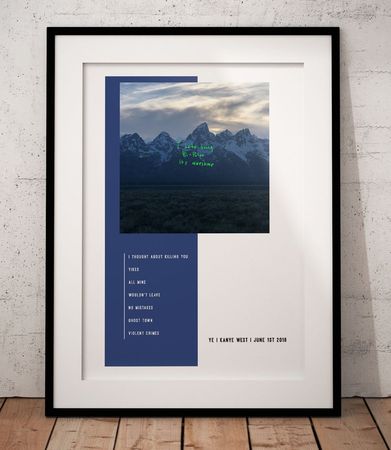 "Kendrick Lamar DAMN Poster Rap Album Cover Music Art Print 12x12/"" 24x24/"" 32x32/"""