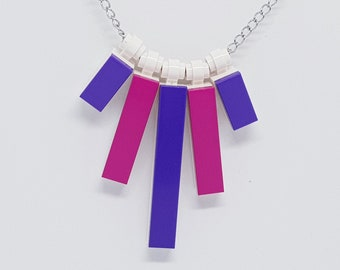 LEGO BRICK BLOCK PINK// FLOWERS  NECKLACE GIRL SILVER CHAIN FLOWER BOX NECKLACE