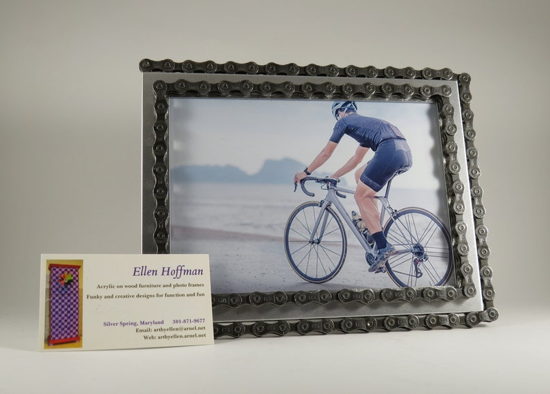 Handcrafted recycled bike bicycle double chain photo picture frame in matte silver