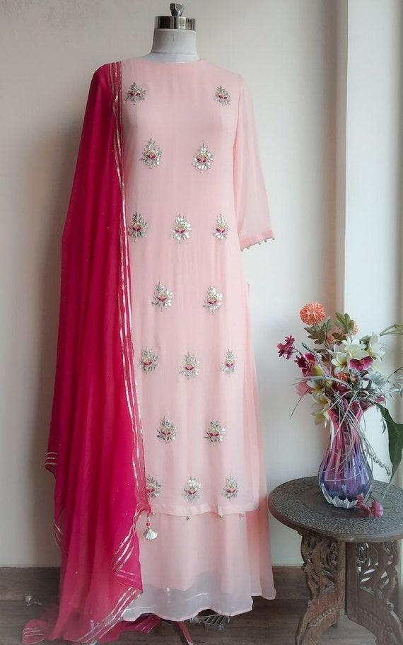 Baby pink gotta patti suit with dupatta