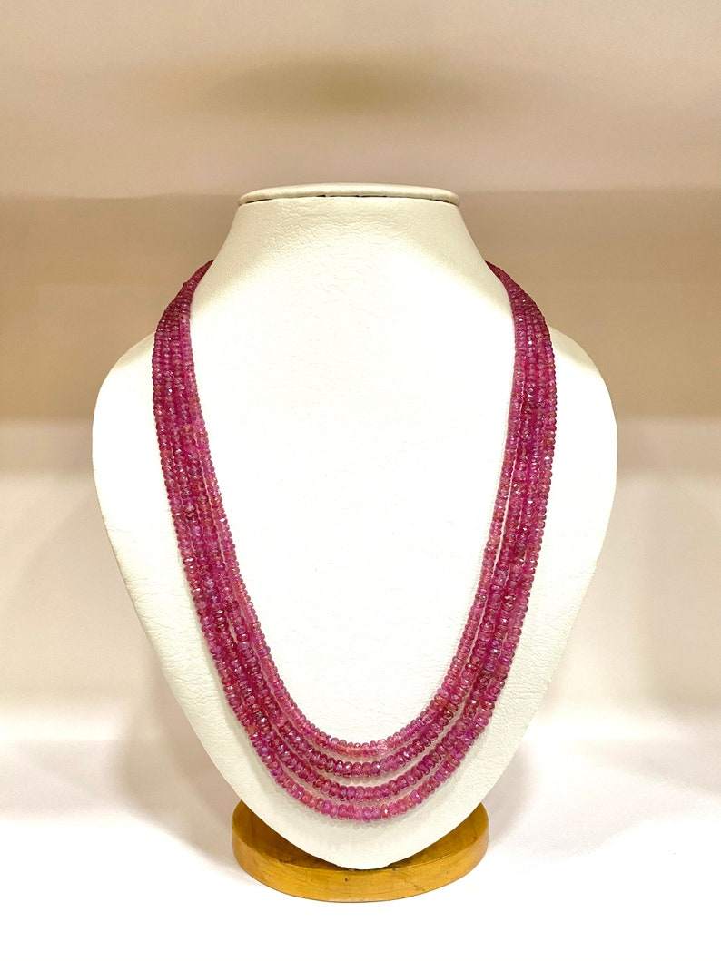 Natural Ruby Gemstone Pink Shade Beads Necklace