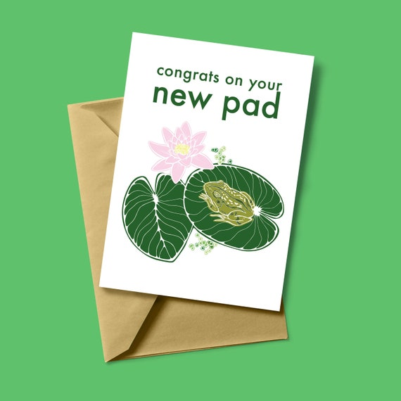 Congrats On Your New Pad - Frog Card - Frogs & Lily Pads - Moving House Card - New Home Gifts